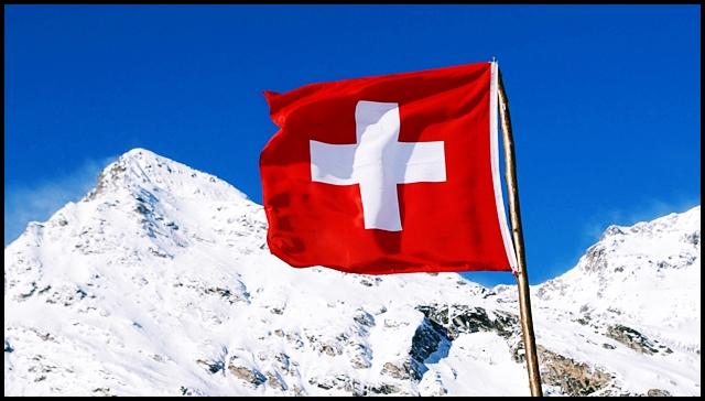 Swiss Flag on Mountain